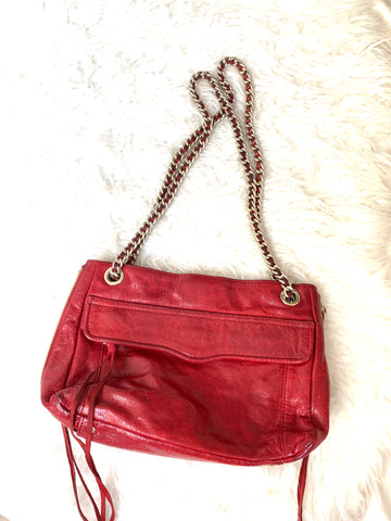Rebecca Minkoff Red Zipper Bag with Gold Chain (see notes)
