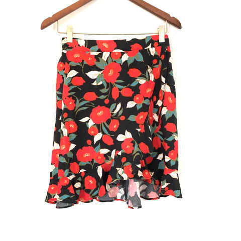 Gibson Red & Black Floral Faux Wrap Skirt- Size XS