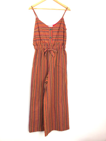 Vestique Red Stripe Jumpsuit Button Front NWT- Size S