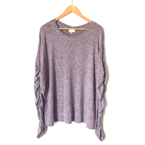 Caslon Heathered Purple Ruched Long Sleeved Super Soft Top- Size L
