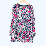 Lulus Pink and Navy Floral Bell Sleeve Dress- Size XS