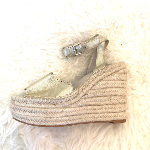 Caslon Gold Scalloped Espadrille Wedge- Size 7