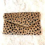 No Brand Faux Fur Cheetah Zipper Clutch