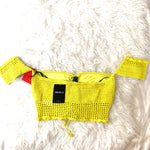 Forever 21 Bright Yellow Crochet Off the Shoulder Blouse NWT- Size S