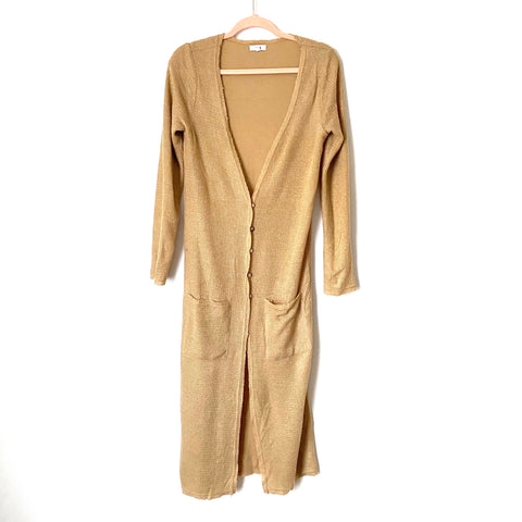 Lucca Couture Button Up Long Duster Cardigan- Size XS (Jana)