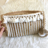 No Brand White and Tan Jute Clutch