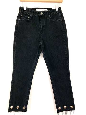 "Lovers + Friends Black High Rise Jeans with Heart Grommet- Size 26 (Inseam 25"")"