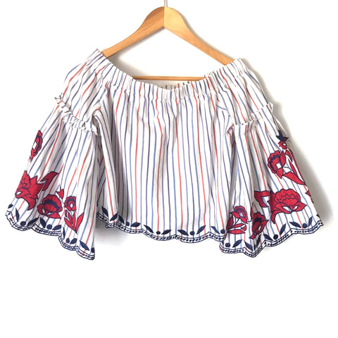 Parker Off the Shoulder Striped Embroidered Blouse NWT- Size XS