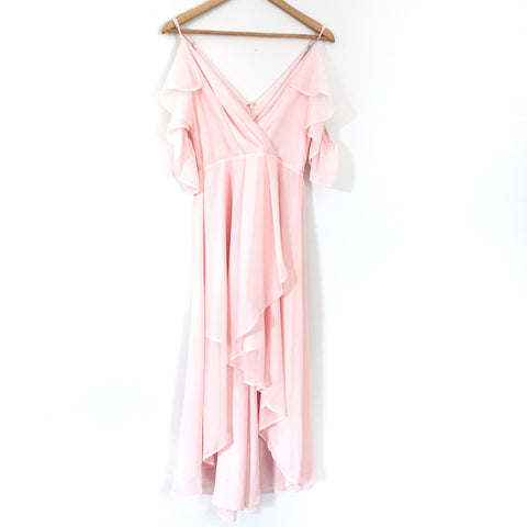 Chelsea28 Pink Off the Shoulder Ruffle High/Low Maxi- Size XS