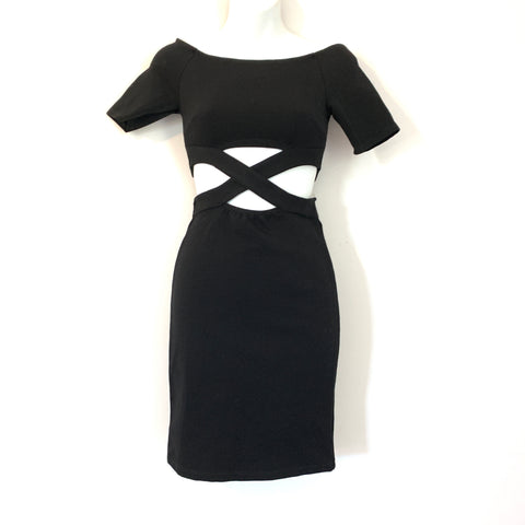 Solemio Black Off the Shoulder Criss Cross Front Form Fitting Dress with Exposed Back- Size S (see notes)