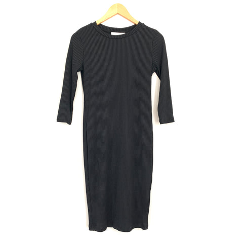 Lush Black Ribbed Dress - Size S