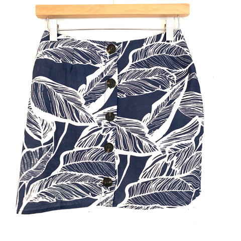 No Brand Navy Palm Print Button Up Skirt- Size S