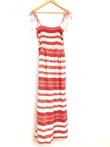 ASOS Smocked Red and White Pom Pom Maxi Dress - Size 2