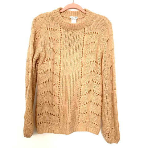 Main Strip Open Knit Tan Sweater NWT- Size S