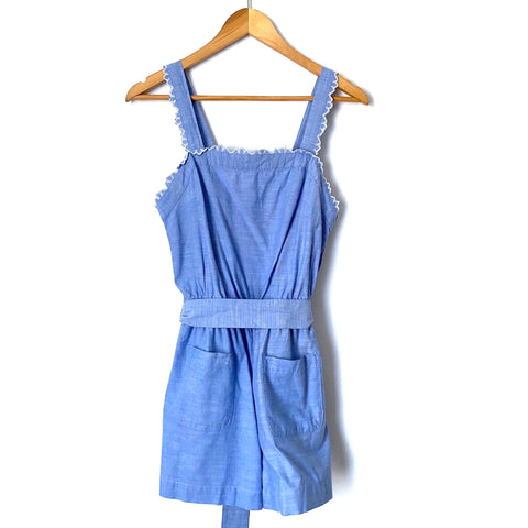 LOFT Beach Chambray Front Pockets Belted Romper- Size XS