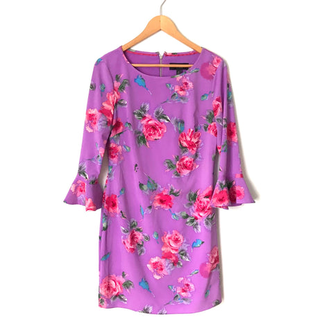 Laundry Purple Floral Print Bell Sleeve Dress- Size 4 (see notes)