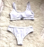 Gym Groupie White Bikini Top with Buckle- Size S (TOP ONLY)