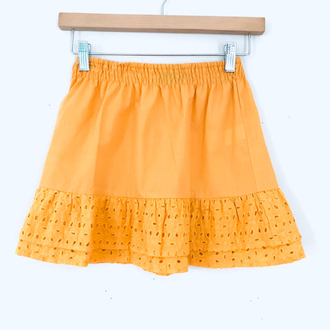 Prettylittlething Yellow Eyelet Mini Skirt- Size 0 (Matching top sold separately)