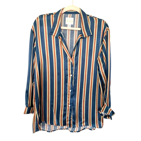 JAG Striped 100% Silk Mother of Pearl Button Up with Top Skull Button Blouse- Size S