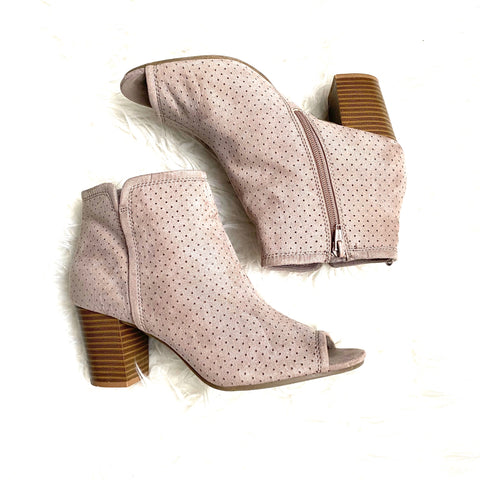 Old Navy Tan Peep Toe Block Heel Booties- Size 9 (Great condition)