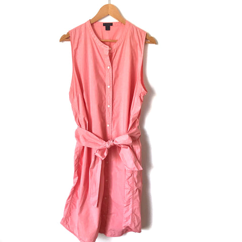 J. Crew Pink Button Up Belted Dress- Size XL