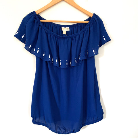 Michael Kors Blue Beaded Off the Shoulder Blouse NWT- Size L (runs small)