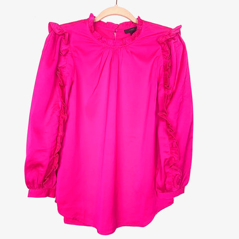 J Crew Hot Pink Ruffle Sleeve with Keyhole Back Blouse- Size XS