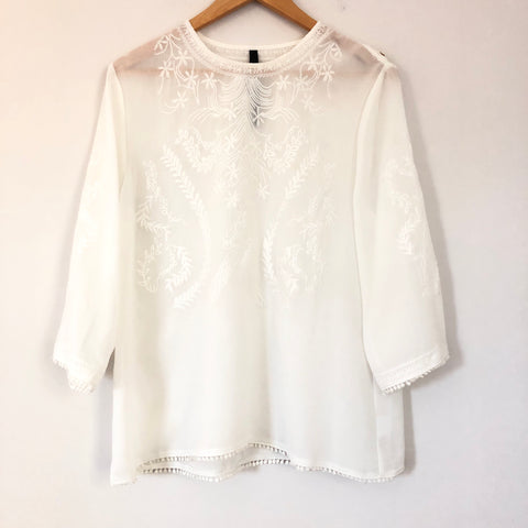Renee C White Embroidered 3/4 Sleeve Blouse- Size M