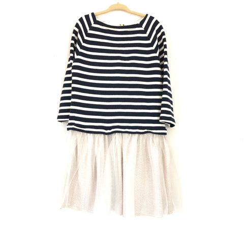 J Crew Crewcuts Youth Girl's Navy Striped Tulle Tutu Dress- Size 6
