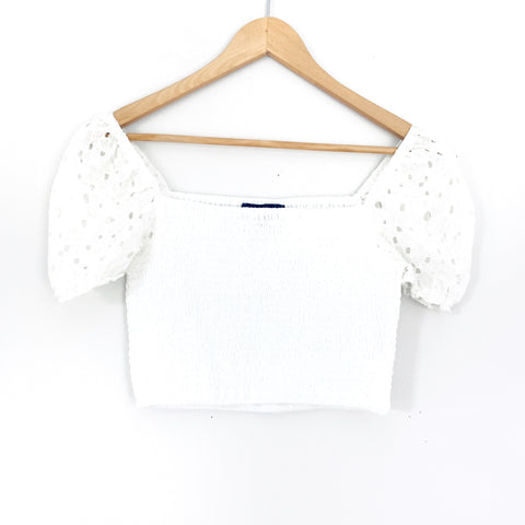 Blue Blush White Smocked Puffy Lace Shoulder Crop Top- Size S