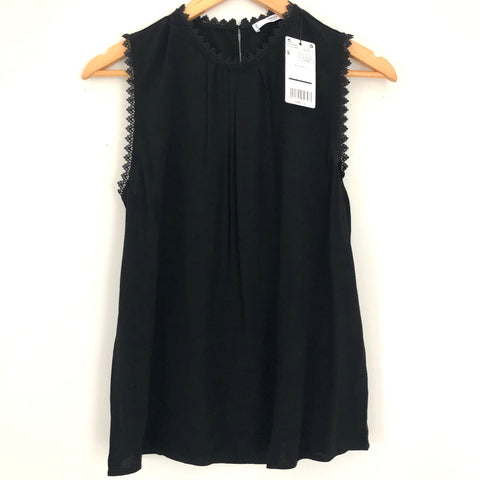 MNG Black Pleated Lace Detail Tank NWT- Size S