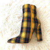 Liliana Yellow and Navy Plaid Booties- Size 7.5 (Like New)