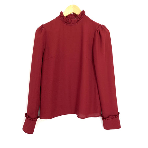Damaris Bailey Maroon Ruffle Collar and Sleeve Blouse- Size XS
