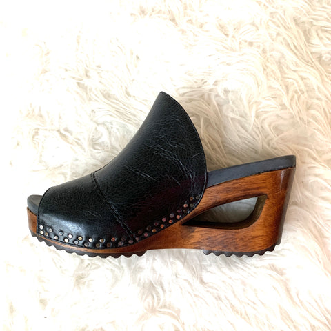 Dansko Black Genuine Leather Shoes with Wooden Wedge- Size 36 (scuffing on left shoe- see photo)