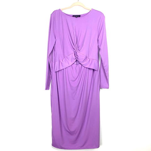 Eloquii Light Purple Fitted Front Twist Cut Out Dress NWT- Size 14