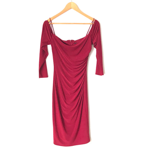 Laundry Burgundy Cold Shoulder Side Ruched Dress- Size 0