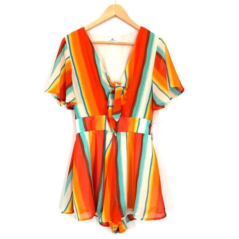 Palms Away Rainbow Tie Front Romper NWT- Size S