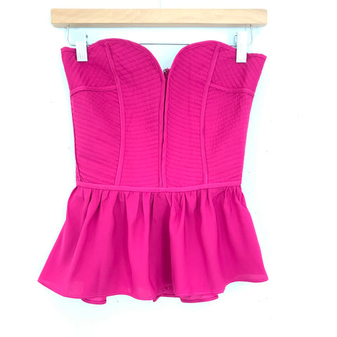 Buddy Love Fuchsia Strapless Top (with boning)- Size S