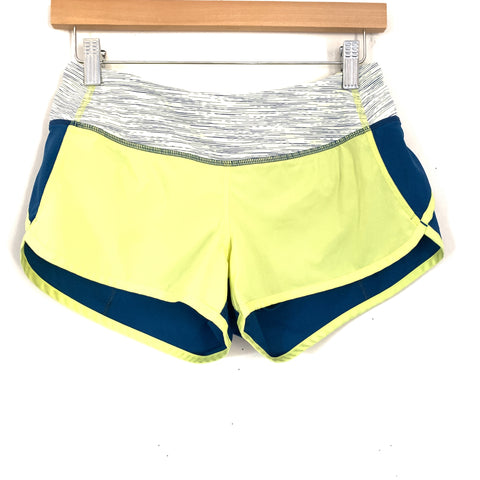 Lululemon Yellow and Blue Two Tone Speed Shorts- Size 4