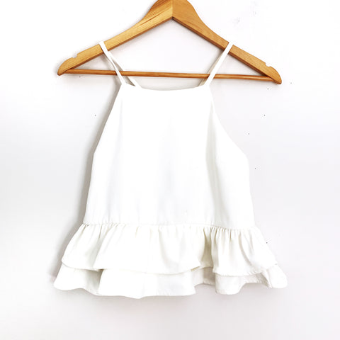 Endless Rose White Peplum Crop Top- Size S (See Notes!)