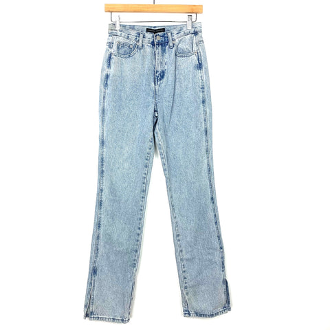 "English Factory Light Wash High Rise Slit Straight Leg Jeans NWT- Size 25 (Inseam 31"")"