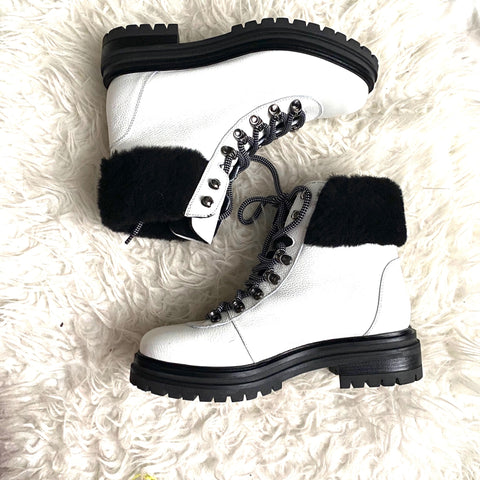 M. Gemi White Leather Alpi Alta Boots- Size 39 (see notes)