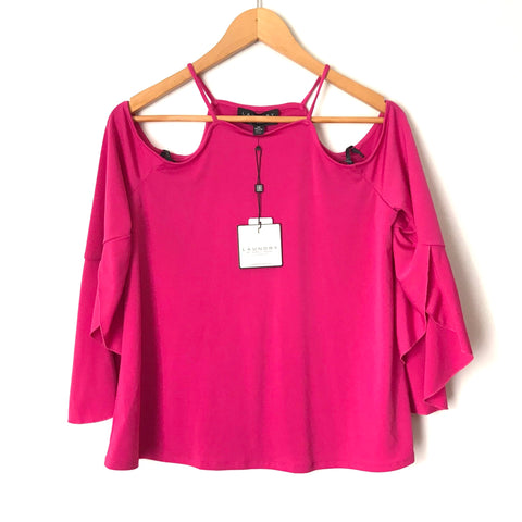 Laundry Hot Pink Cold Shoulder Top NWT- Size XS