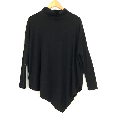 No Brand Black Asymmetrical Hem Long Sleeve Top- Size S
