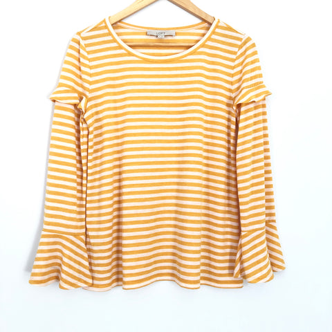 LOFT Yellow Stripe Ruffle Long Sleeve Top - Size XS