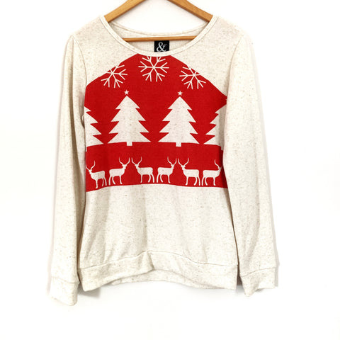 Ampersand & Ave. Cream Holiday Sweater- Size M