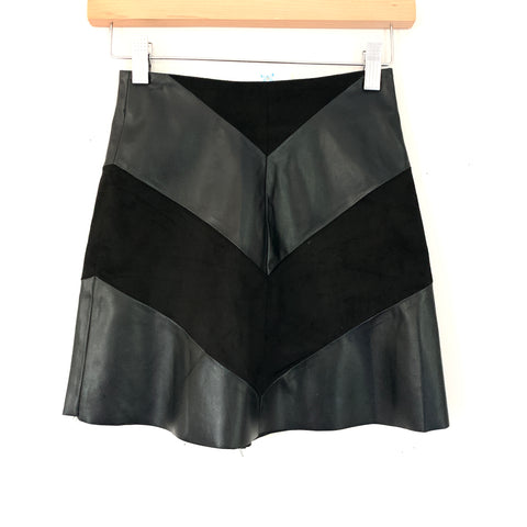 PPLA Black Faux Leather Suede Skirt NWT- Size XS