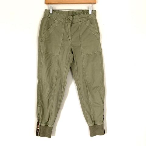 "J Crew Olive Green Cargo Pants with Ankle Zip- Size 2 (Inseam 26"")"