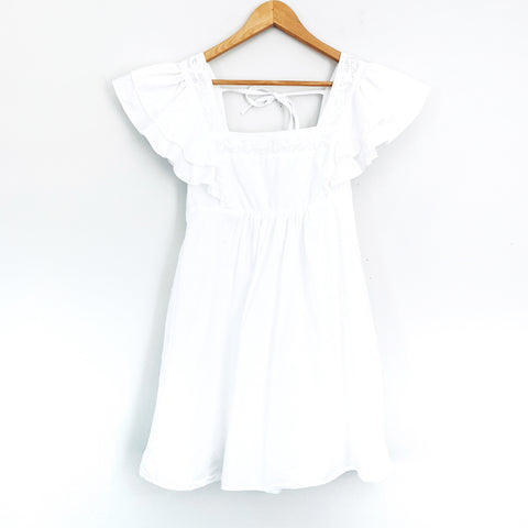 Urban Outfitters White Babydoll Dress with Ruffle Sleeves - Size S