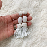 Baublebar White Beaded Tassel Earrings 4""